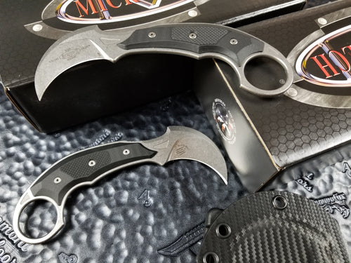 Microtech Bastinelli Iconic Karambit Fixed Blade Knife Stonewash 118-10R Right Hand