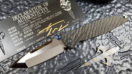 MARFIONE CUSTOM SOCOM ELITE MANUAL HIGH POLISH '97 GRIND - CARBON FIBER HANDLE - FLAMED BACKSPACER - BLUE TI ACCENTS AND HARDWARE