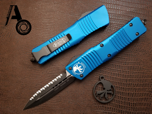 Microtech Combat Troodon D/E Full Serrated Blue 142-3BL