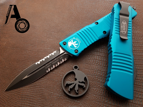 Microtech Combat Troodon D/E Partial Serrated Turquoise 142-2TQ
