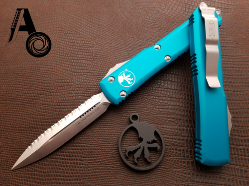 Microtech Ultratech D/E Satin Full Serrated Turquoise 122-6TQ