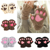 Lovely Women Bear Cat Claw Paw Mitten Plush Gloves Short Finger Half Gloves