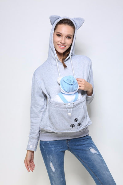 Kitty Roo - Hoodie With Cuddle Kangaroo Pouch For Dogs & Cats