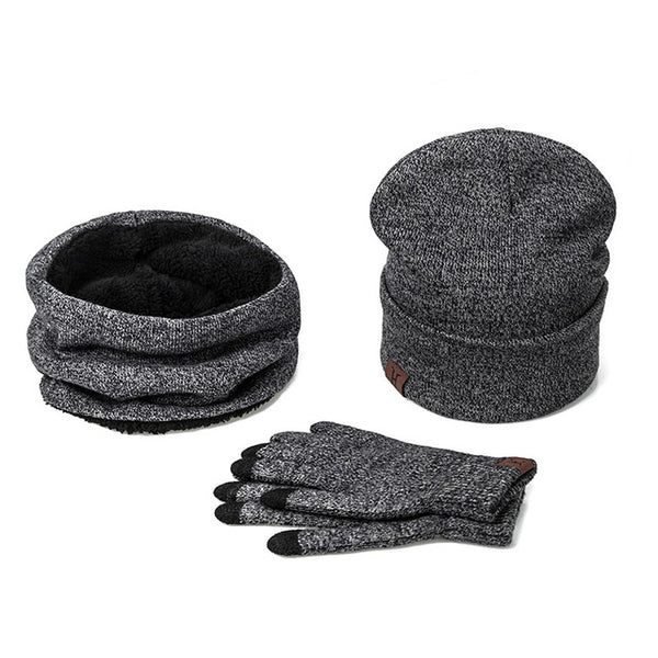 Set - Winter Hat Scarf Glove Cotton Knitted Winter Accessories 3 Pieces Hat Scarf Gloves