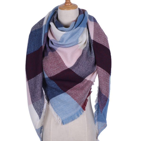 Designer Triangle Scarf for Women Shawl Cashmere Winter Plaid Wool