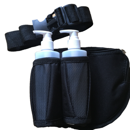Massage Oil Holster Double with Belt & Zippered Pouch