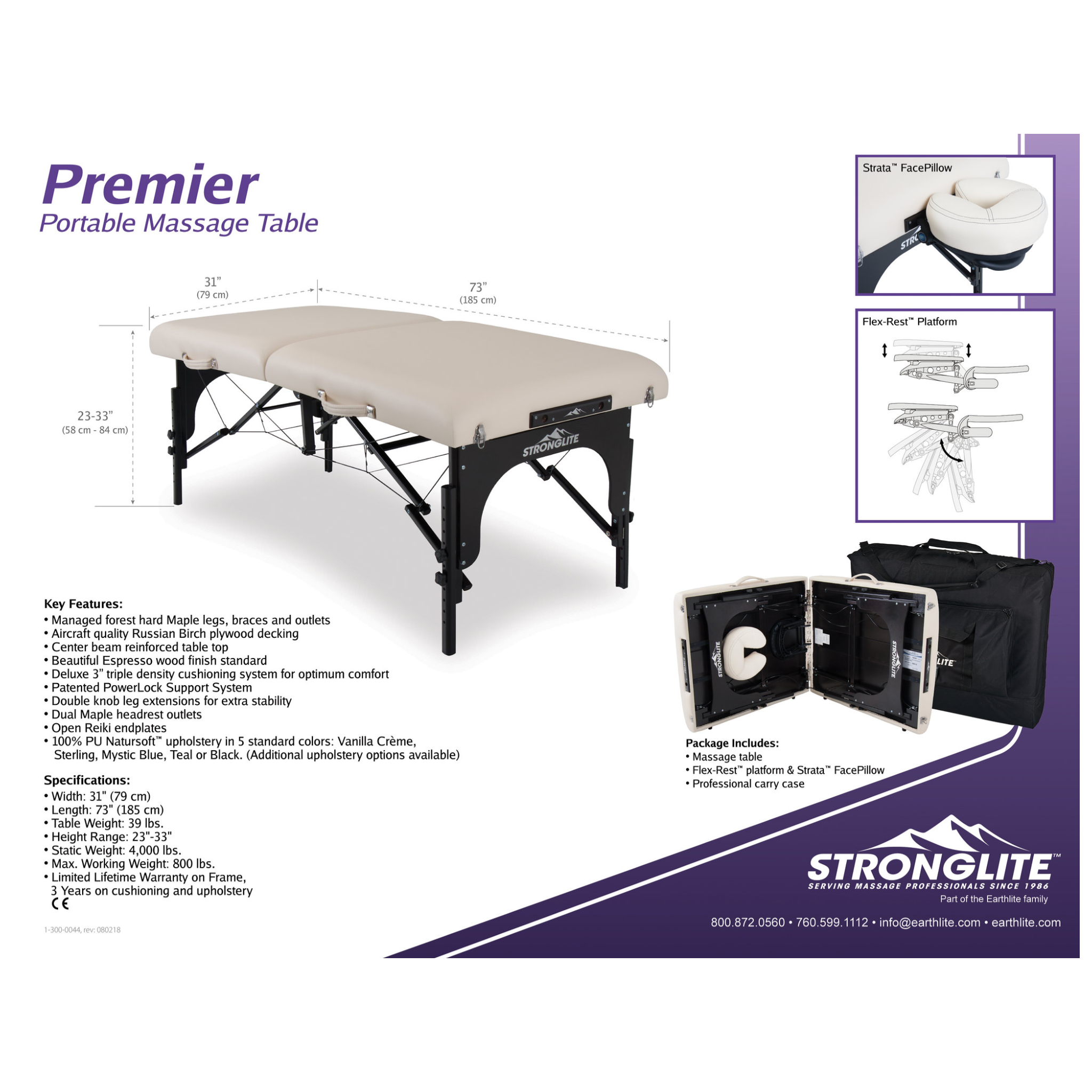 "EarthLite's StrongLite 31"" Massage Table Package"