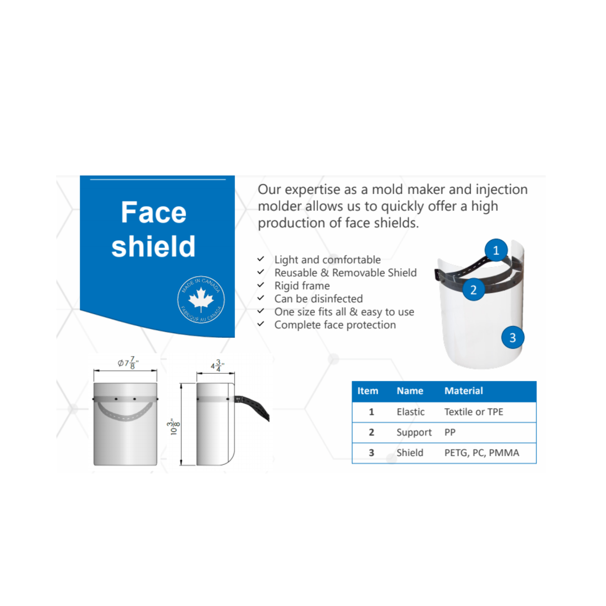 Face Shield with removable and reusable shield Specificationsr