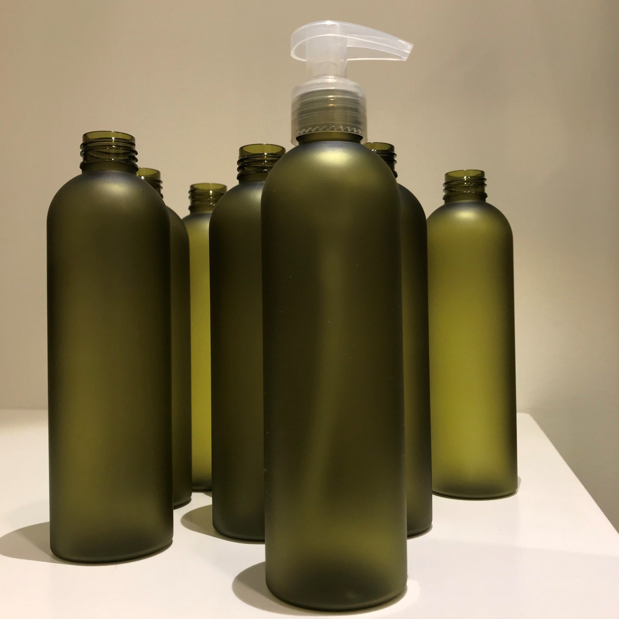Olive Green Frosted Plastic Pump Bottle