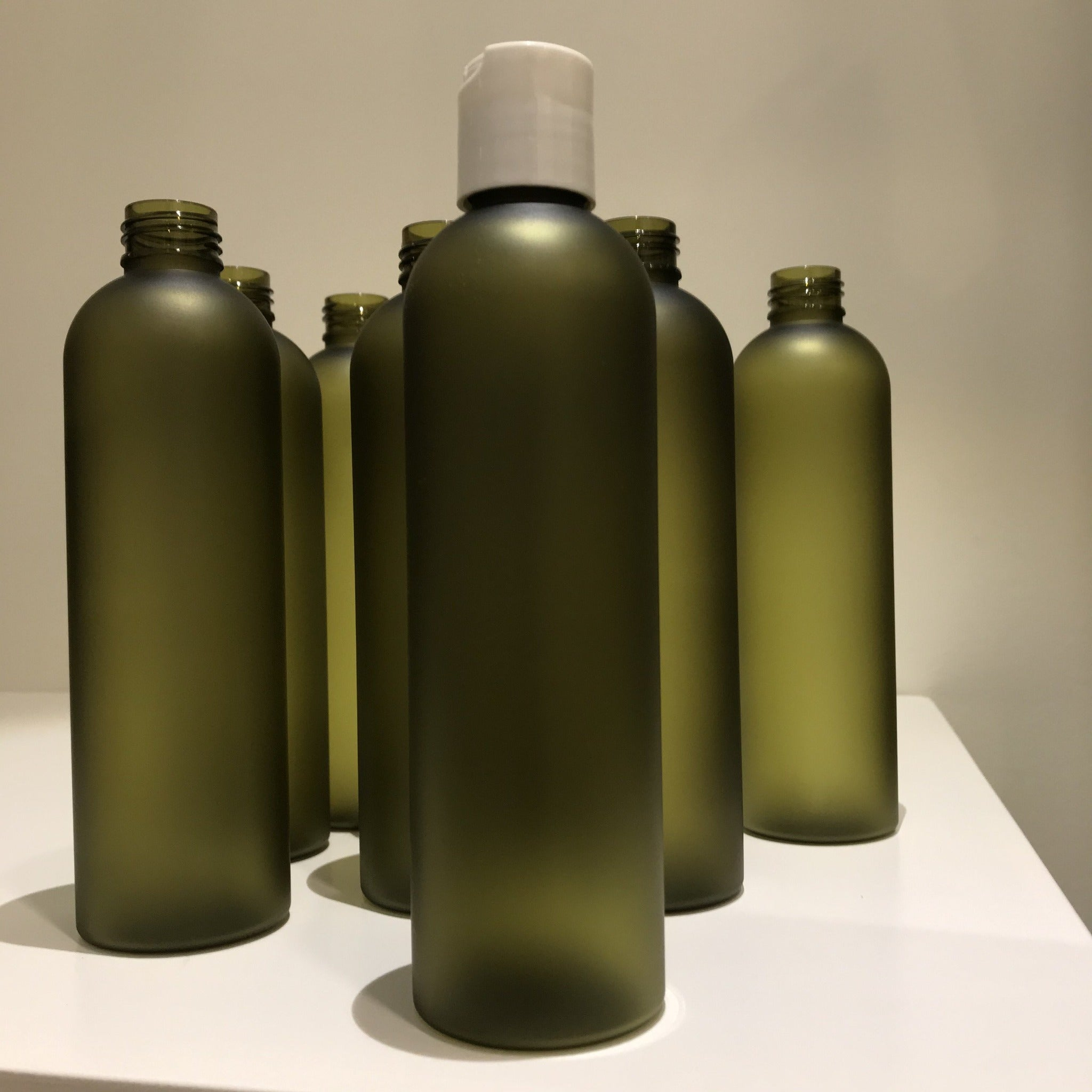 BPA Free Plastic Bottles Olive Frosted for Massage Mediums