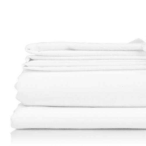 "Poly Cotton Flat Sheet - 66"" x 108"" - White"