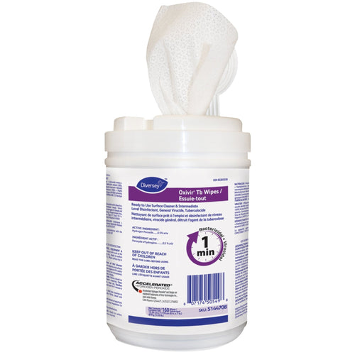Oxiver Tb Wipes Ready To Use Surface Cleaner & Intermediate Level Disinfectant Gov't Canada Covid Approved