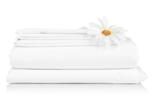 "Cotton Flat Sheet - 66"" x 96"" - White - 300 Thread Count"