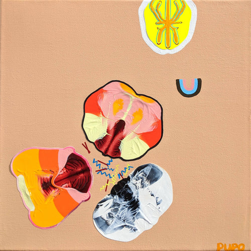 Fuss, 2018, acrylic on paper adhered to canvas and acrylic on canvas, 12 x 12 inches - Claire Pupo