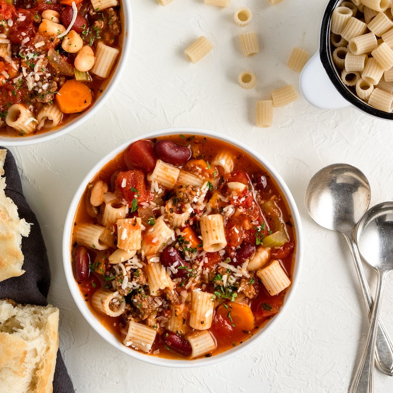 Minestrone soup with Ditalini pasta