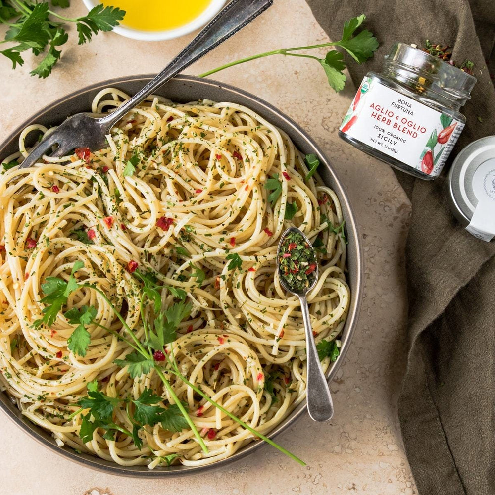 Bona Furtuna Aglio E Oglio Herb Blend with Pasta - Organic Aglio E Olio Mix