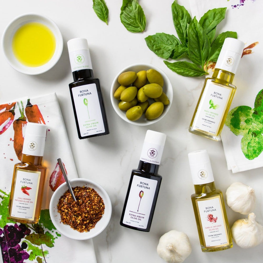 Bona Furtuna Olive Oil Collection - Chili Infused Olive Oil, Garlic Infused Olive Oil, Basil Infused Olive Oil, Heritage Blend, & Biancolilla Centinara Extra Virgin Olive Oil