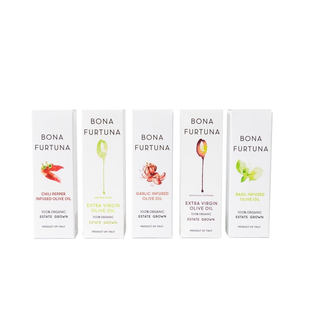 Bona Furtuna Olive Oil Collection - Chili, Garlic, Basil, Heritage Blend, & Biancolilla Centinara Extra Virgin Olive Oil