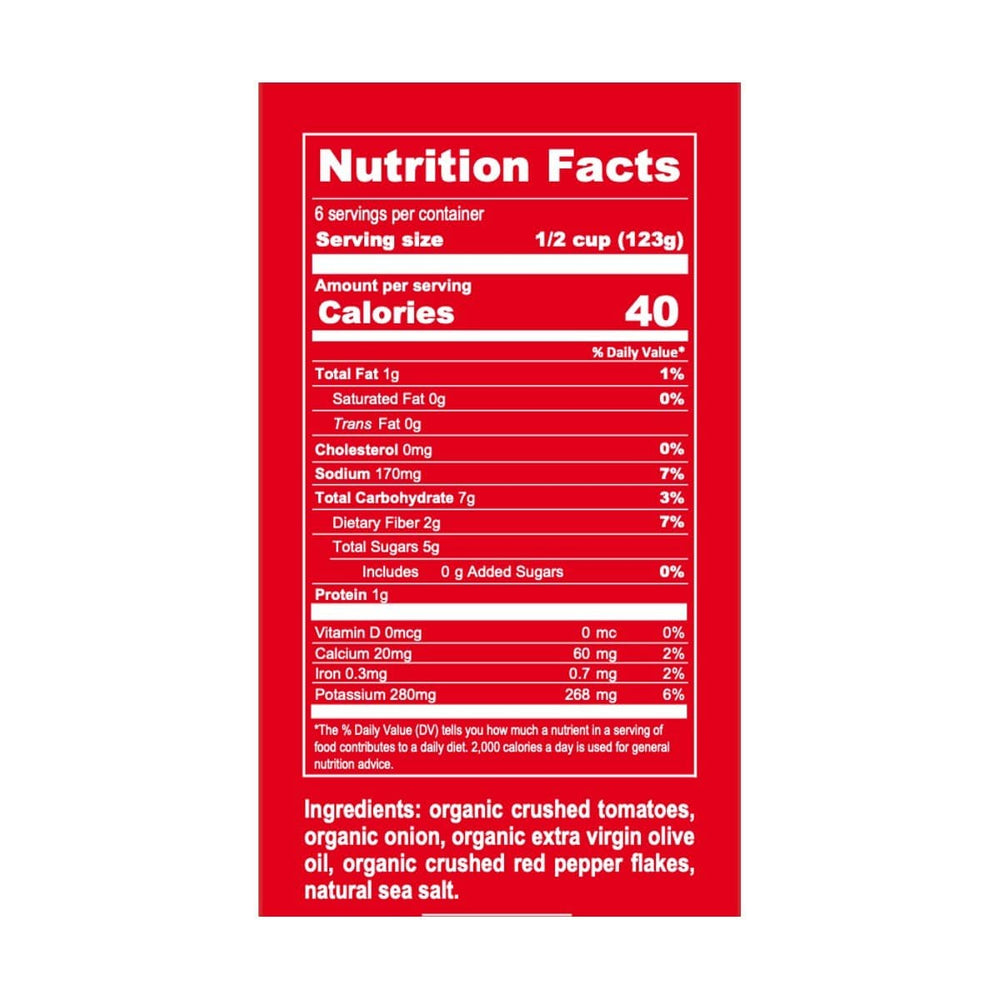 Bona Furtuna Organic Arrabbiata Marinara Pasta Sauce - Nutrition Label and Ingredients