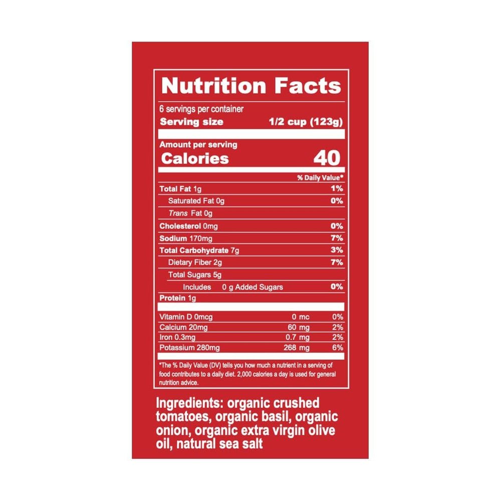 Organic Sicilian Basil Marinara Pasta Sauce Nutrition Label and ingredients
