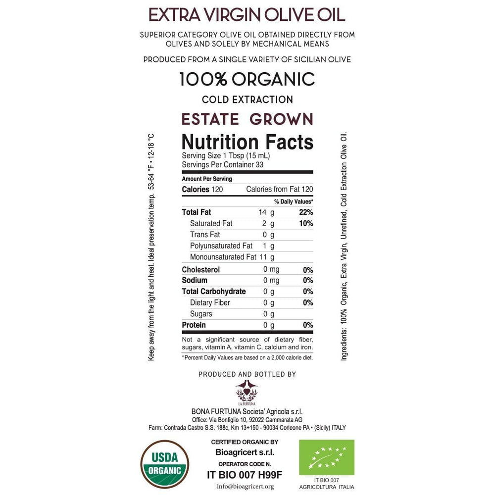 Organic Extra Virgin Olive Oil from the Sicani Mountains in Sicily - Nutrition and Ingredients