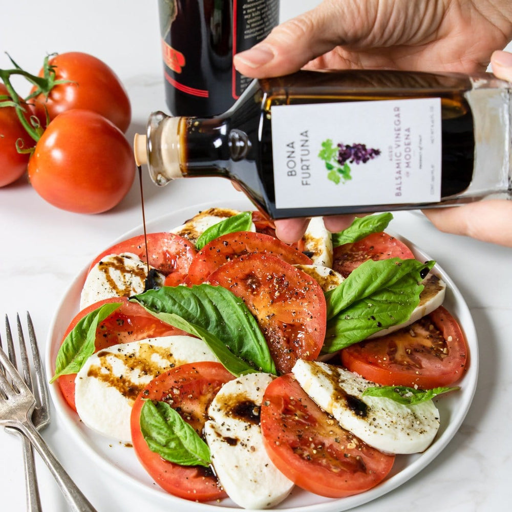 Bona Furtuna Invecchiato Aged Balsamic Vinegar of Modena IGP with Caprese Salad