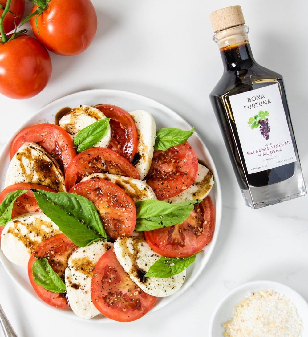 Bona Furtuna Traditional Invecchiato Aged Balsamic Vinegar of Modena IGP with Caprese Salad