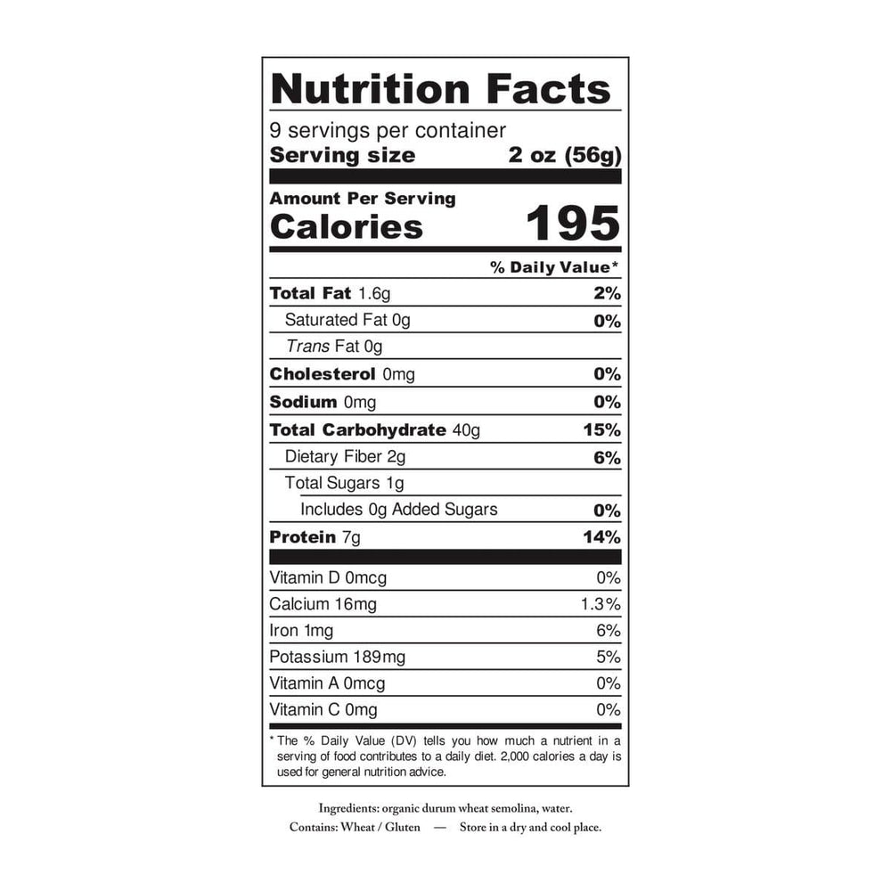 Organic Ancient Grain Busiate pasta nutrition and ingredient label