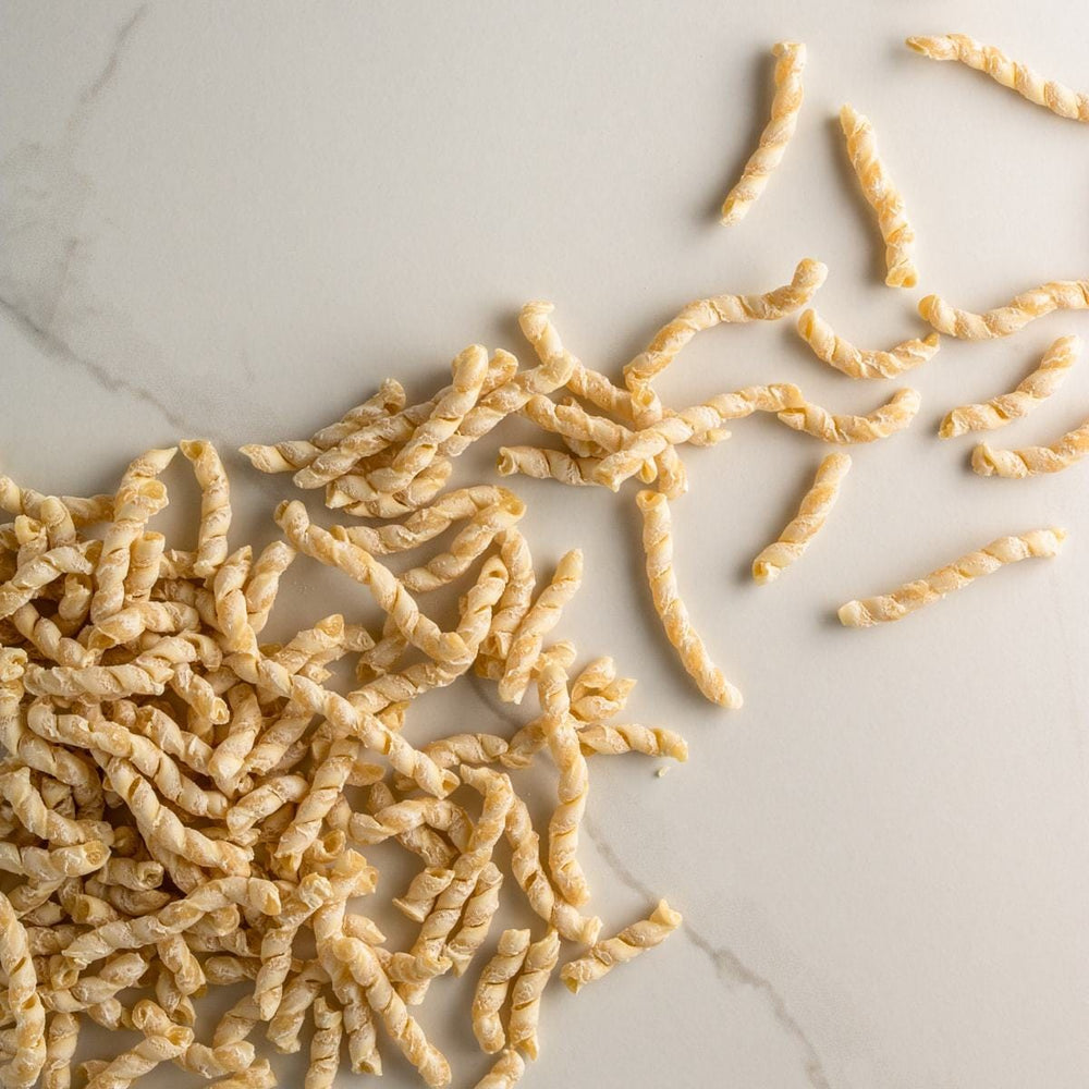 Bona Furtuna Busiate - Organic, Low-Gluten Busiate Pasta on Countertop
