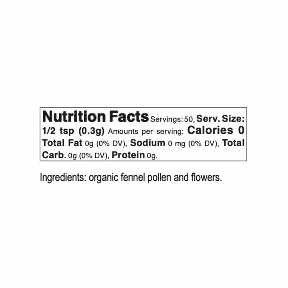 Bona Furtuna Wild Foraged Fennel Pollen - Nutrition Facts and Ingredients