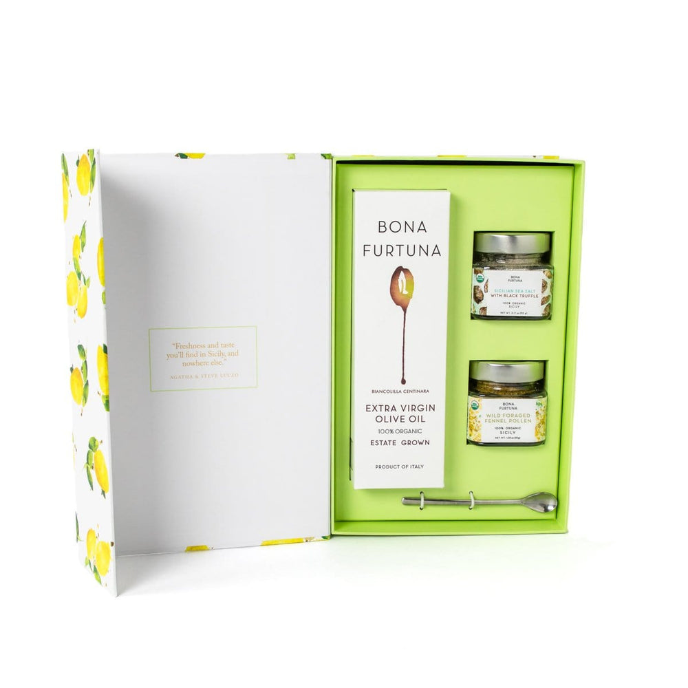 Bona Furtuna The Forager - Gourmet Olive Oil Gift Box with Sicilian Seasonings and Spoon