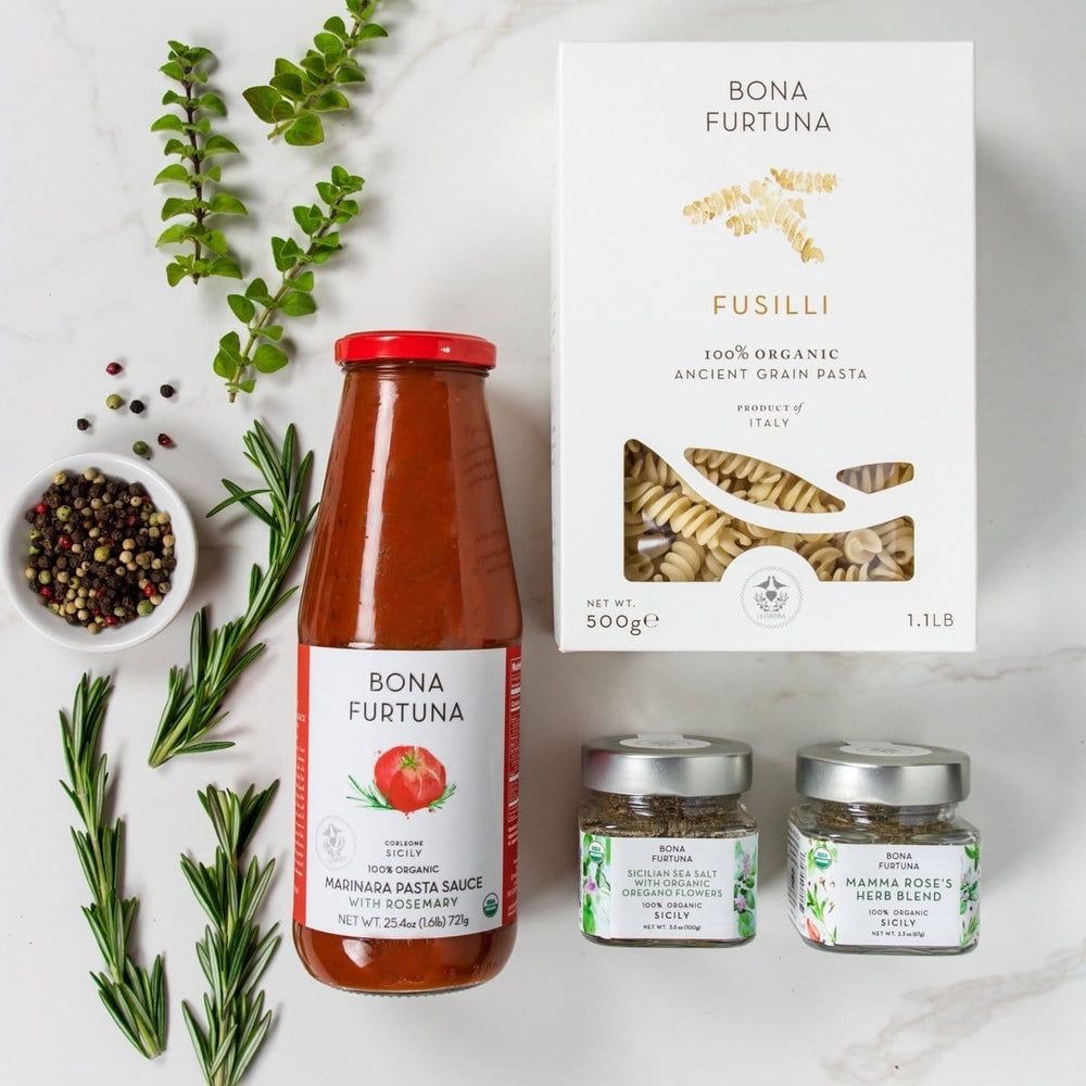 Bona Furtuna Sicilian Summer - Organic Ancient Grain Fusilli Pasta, Rosemary Marinara Pasta Sauce, Mamma Rose's Herb Blend, Oregano Sea Salt