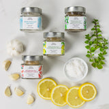 Bona Furtuna Trapani Sea Salt Collection - Pure Sicilian Sea Salt, Oregano Sea Salt, Lemon Sea Salt, Garlic Sea Salt
