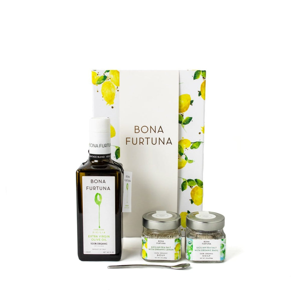 Bona Furtuna Il Vivace - Sicilian Olive Oil Gift Box with Sea Salt-Lemon-Basil Seasonings