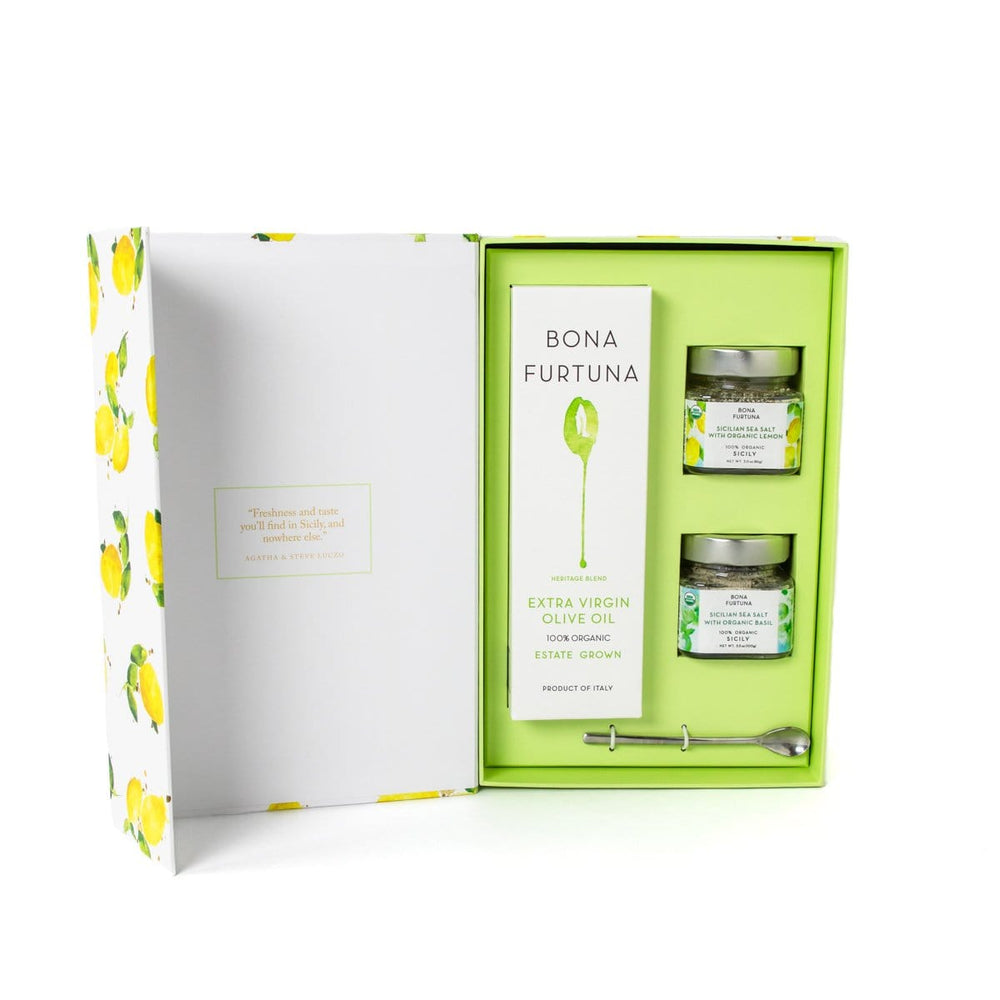 Bona Furtuna Il Vivace - Specialty Olive Oil Gift Box with Sicilian Sea Salts