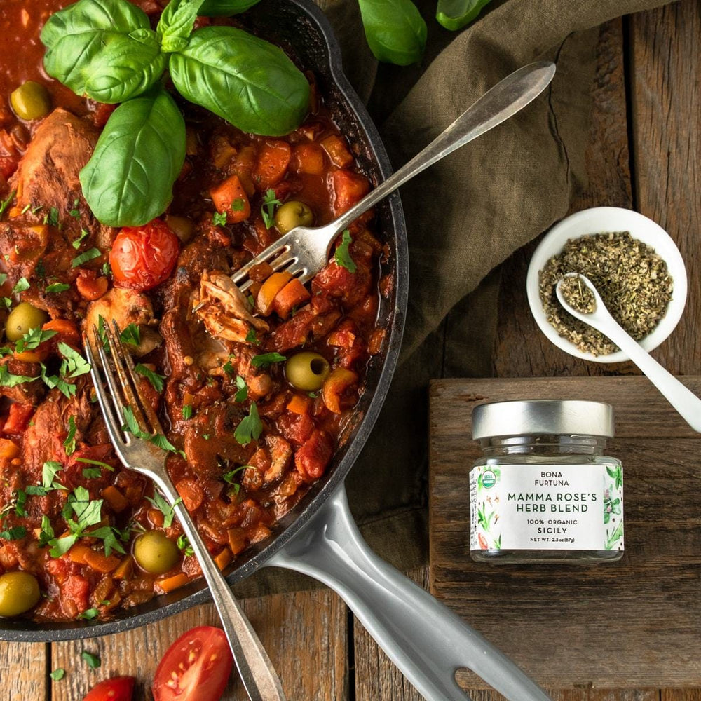 Bona Furtuna Mamma Rose's Herb Blend with Chicken, Tomatoes and Olives - Organic Italian Blend