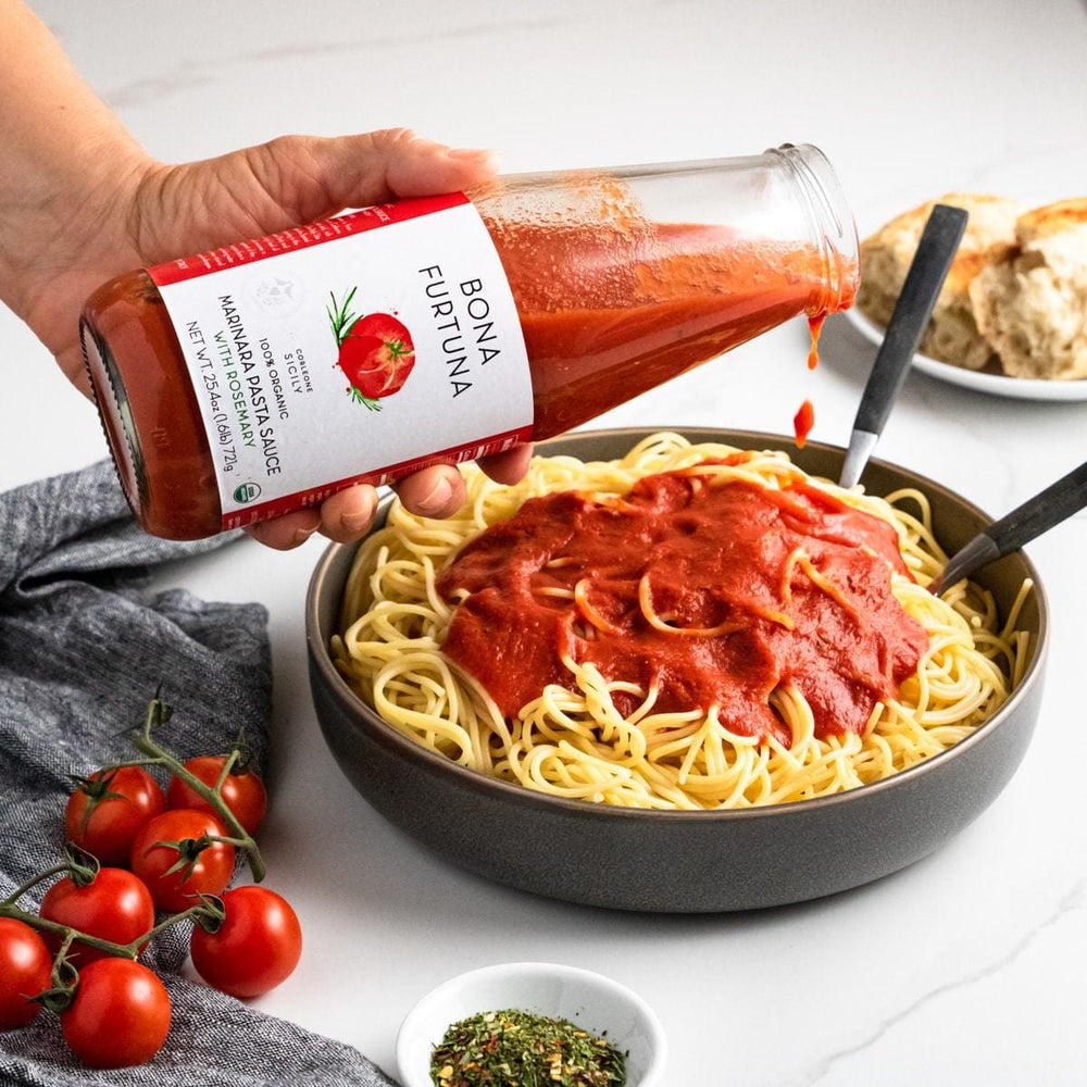 Bona Furtuna Marinara with Rosemary in Spaghetti - Organic Tomato Sauce