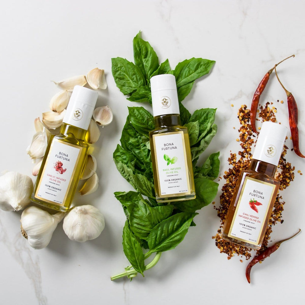 Bona Furtuna Tre Amici Infused Olive Oil Gift Collection - Basil, Chili, & Garlic Olive Oil