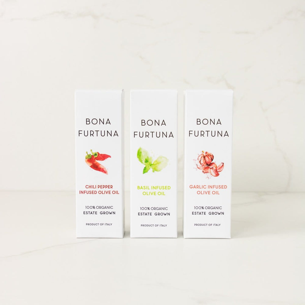 Bona Furtuna Tre Amici Infused Olive Oil Collection- Italian flavored olive oils