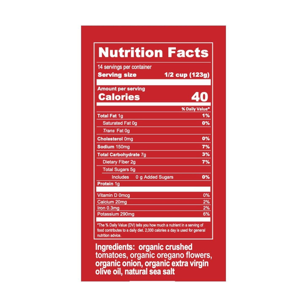 Bona Furtuna Organic Oregano Marinara Sauce - Nutrition Label and Ingredients