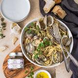 Bona Furtuna Organic Oregano Flowers on Spaghetti with Clams - Buy Oregano Seasonings