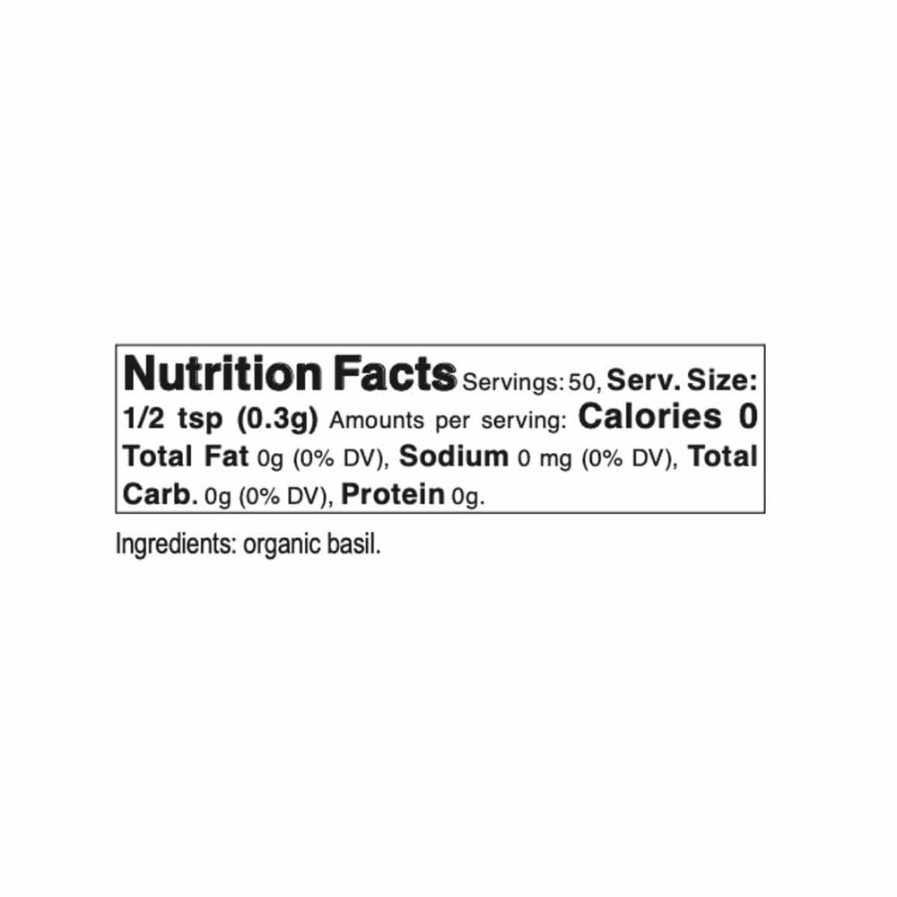 Organic Dried Basil nutrition label and ingredients