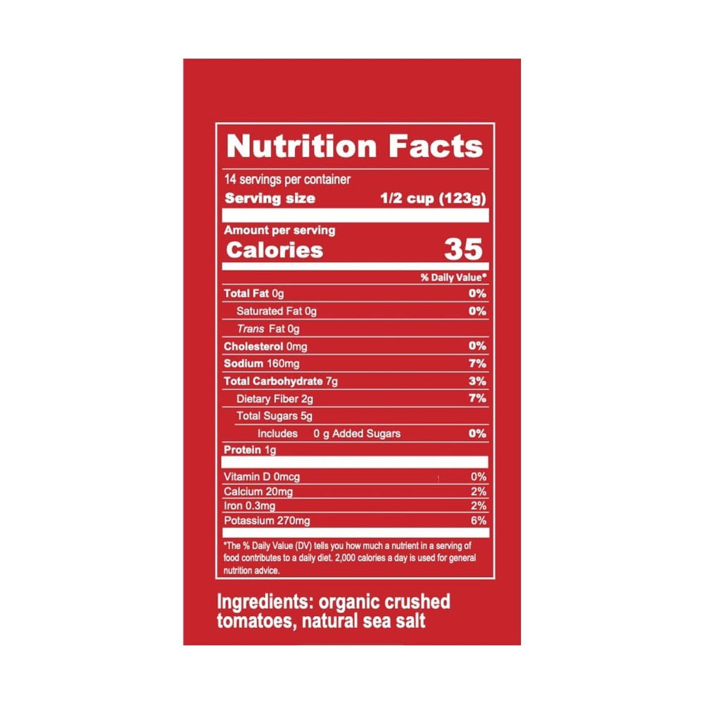 Organic Sicilian Original Marinara Sauce Nutrition Label and ingredients
