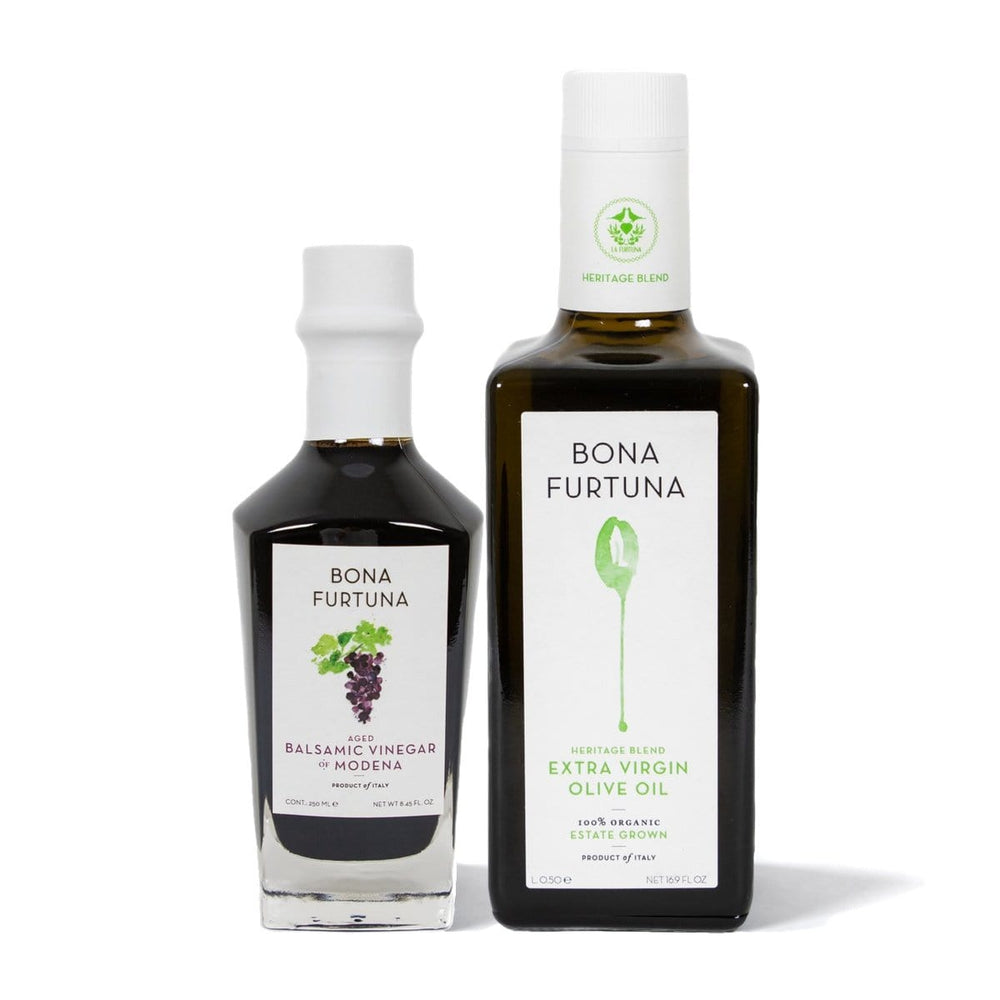Bona Furtuna Renzo e Lucia - 7-Year Aged Balsamic Vinegar and Heritage Blend Extra Virgin Olive Oil bundle