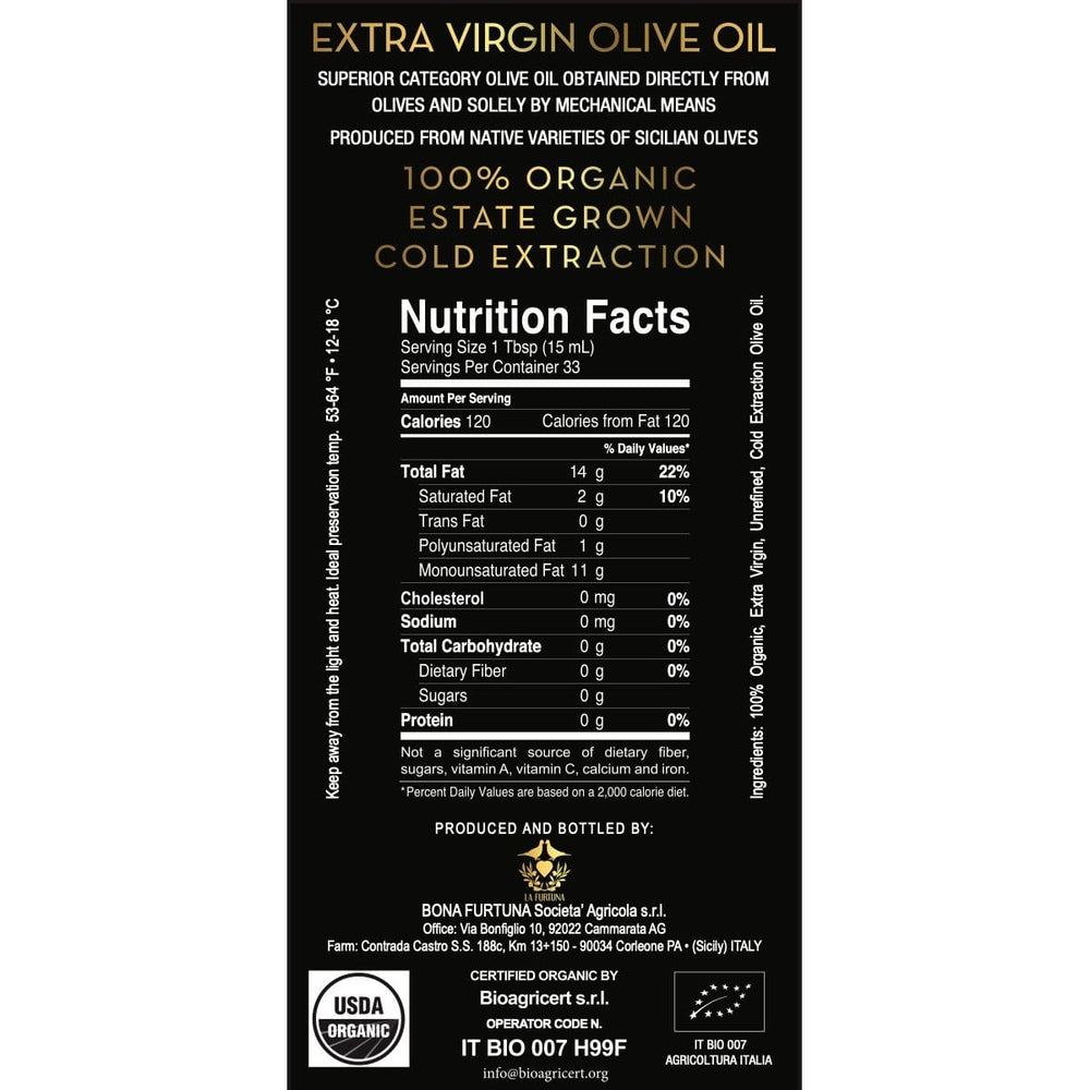 Organic Sicilian Extra Virgin Olive Oil from the Sicani Mountains of Sicily- Label