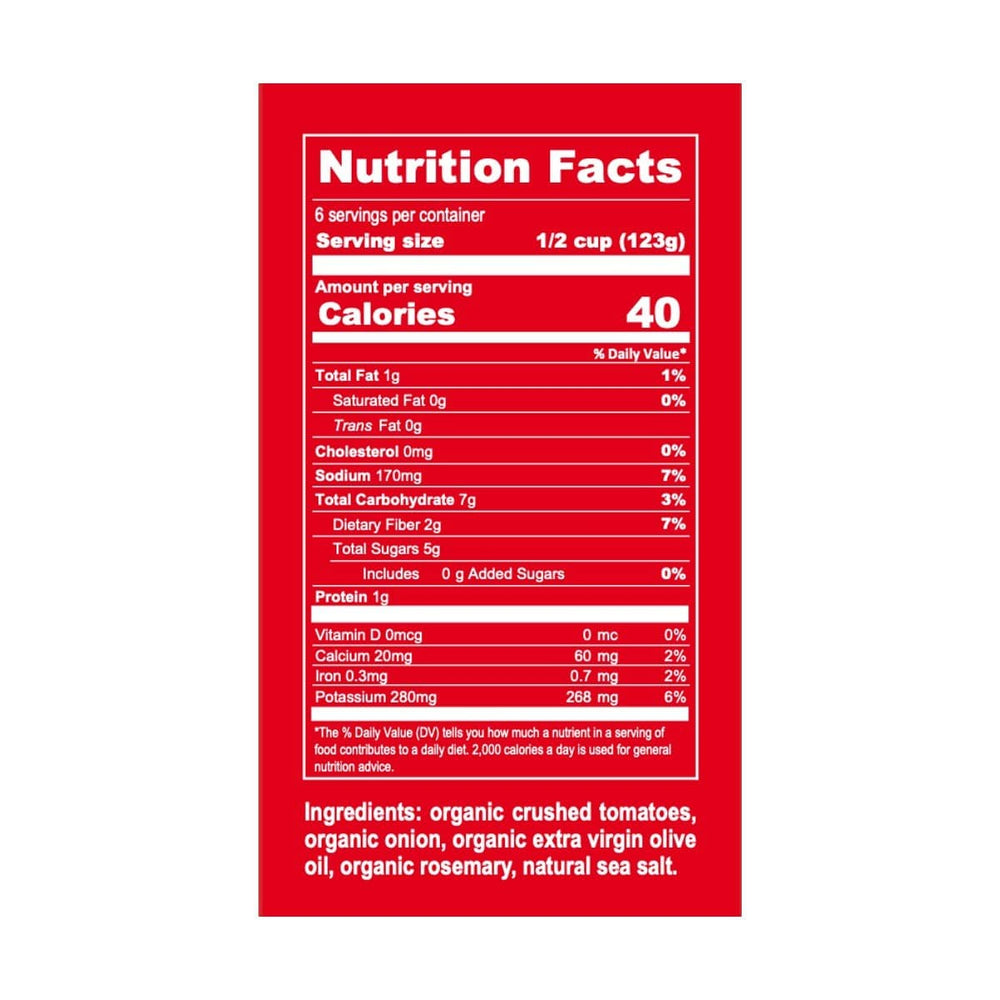 Organic Sicilian Rosemary Marinara Nutrition label and ingredients