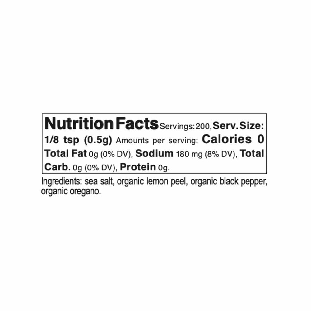 Sicilian Sea Salt and Organic Herb Blend nutrition label and ingredients
