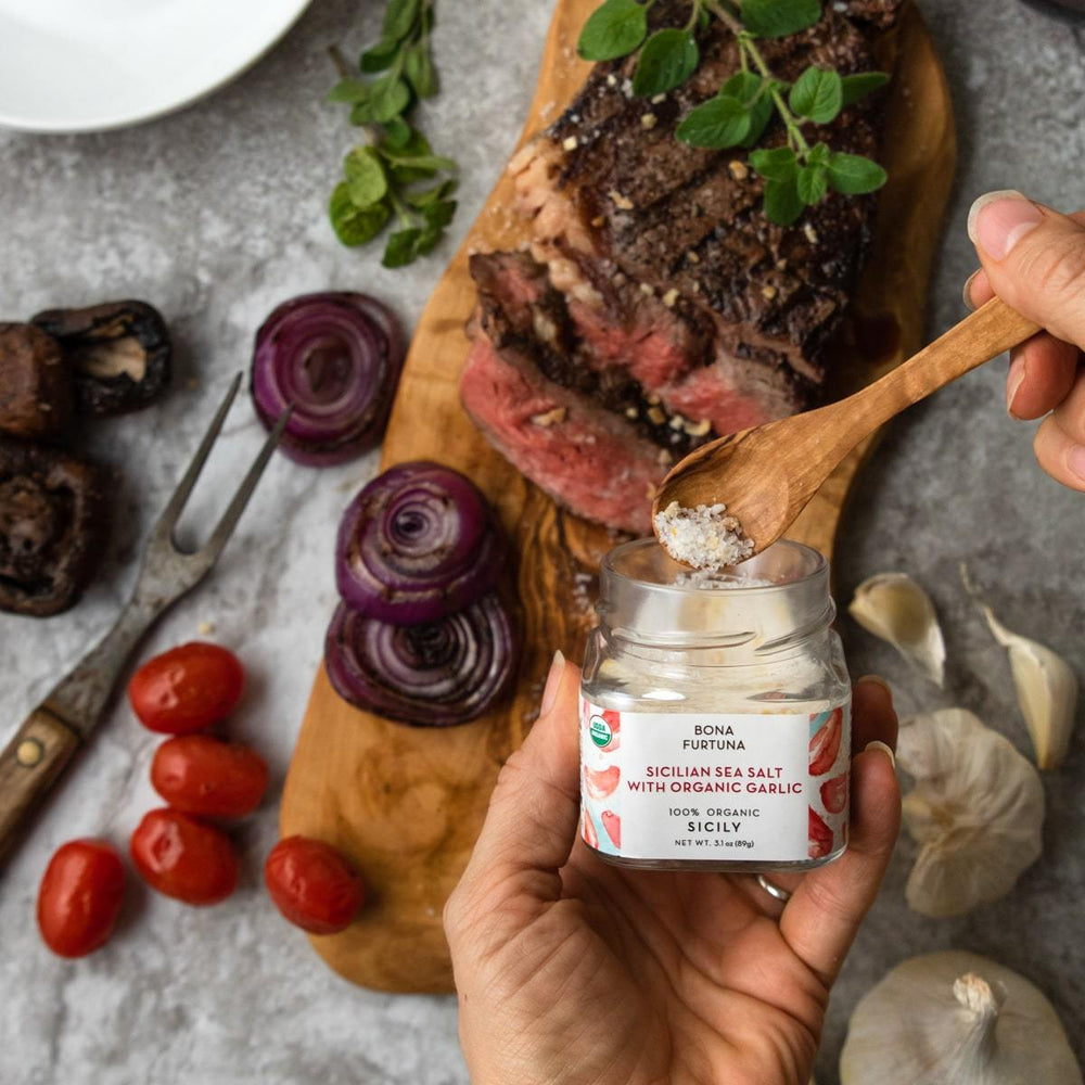 Bona Furtuna Sicilian Sea Salt with Organic Garlic on Steak - Buy Red Garlic Salt Mix