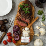 Bona Furtuna Sicilian Sea Salt with Organic Garlic with Steak - Organic Garlic Sea Salt