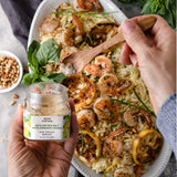Bona Furtuna Sicilian Sea Salt with Organic Lemon on Shrimp Dish - Lemon Sea Salt Seasoning